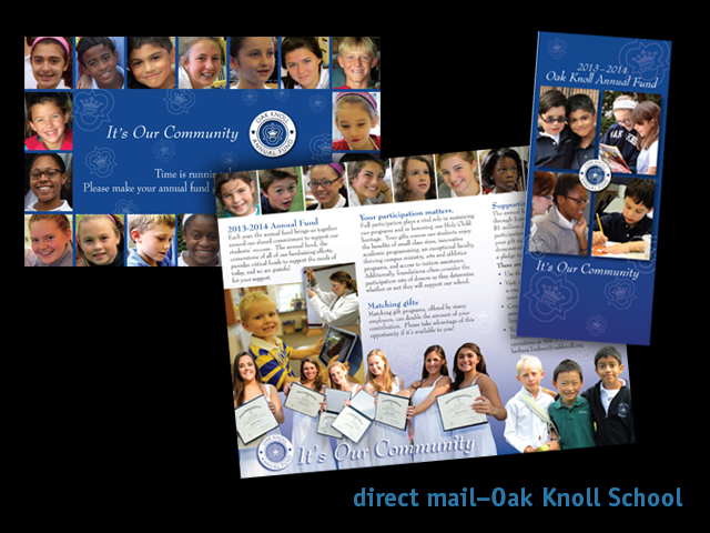 fagan graphics direct mail- Oak Knoll School direct mail brochure and postard