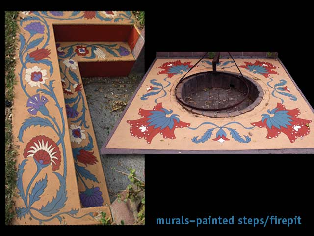 fagan graphics murals-painted cement steps, firepit