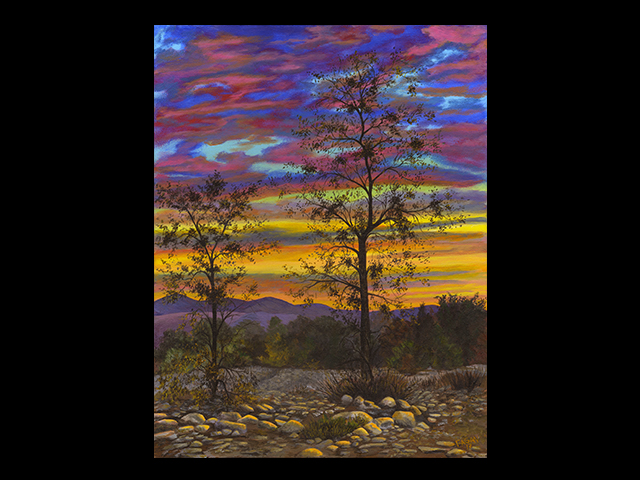 katie fagan graphics paintings-Two Trees Watching the Sunset