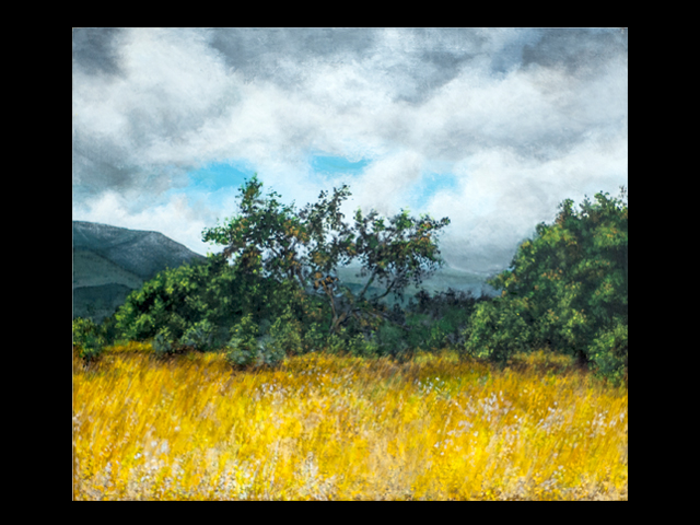 katie fagan graphics paintings-Golden Grass and Oaks, Ventura River Bottom