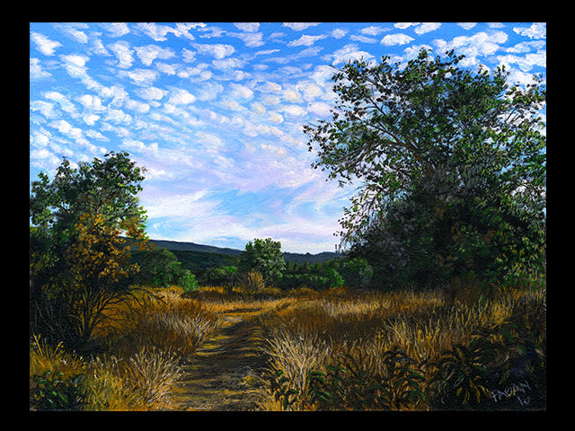 katie fagan graphics paintings-Popcorn Clouds Over River Bottom Trail