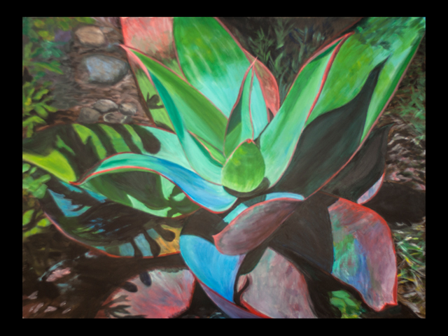 katie fagan graphics paintings-Succulent Shadows painting in progress