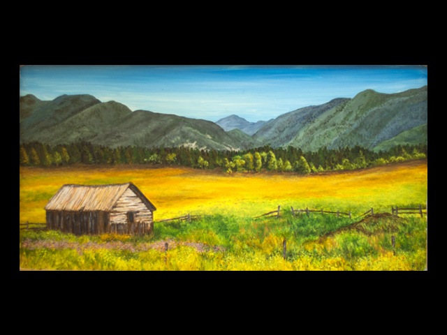 katie fagan graphics paintings-Abandoned Homestead near Whitefish, MT